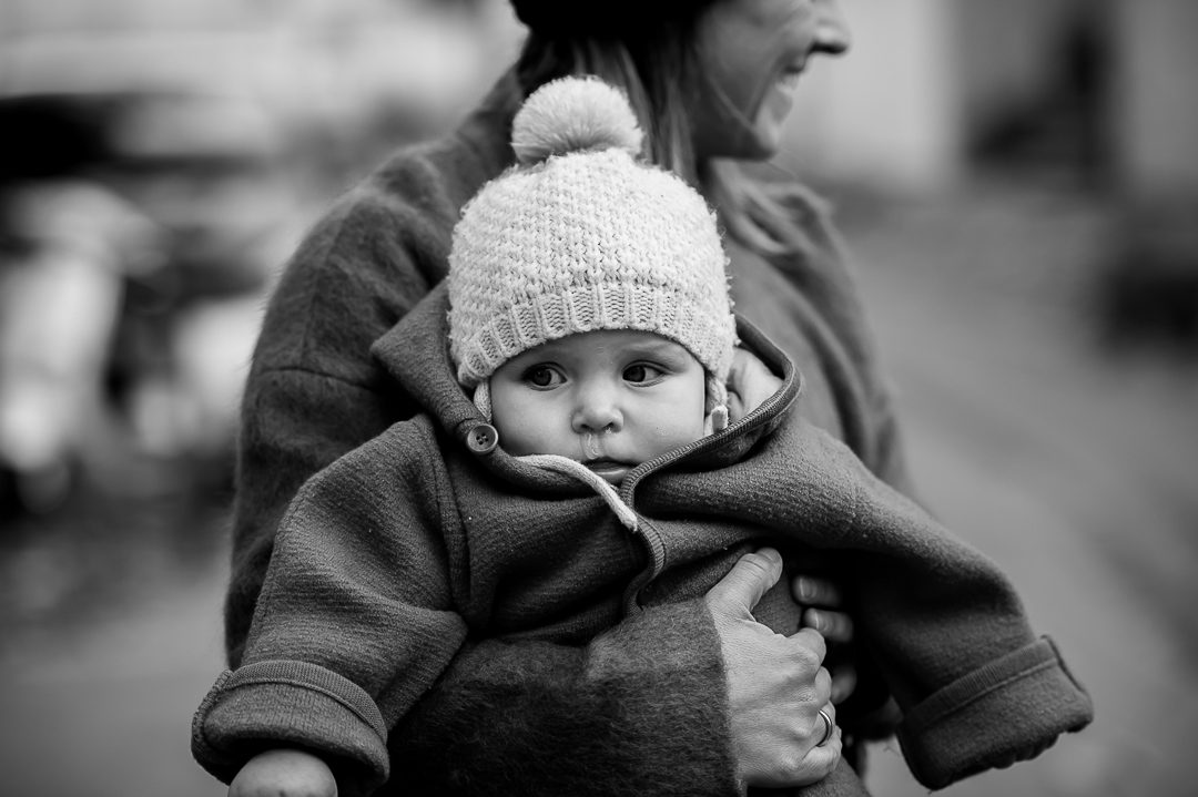 winter outfit with knitted hat for girl