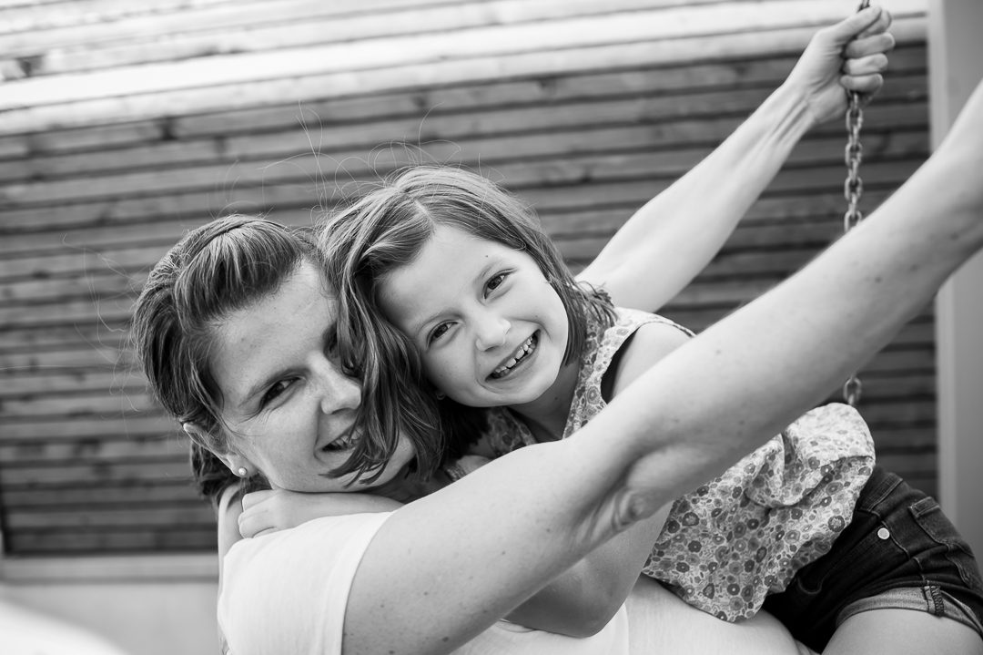 Mother and daughter portrait in black and white