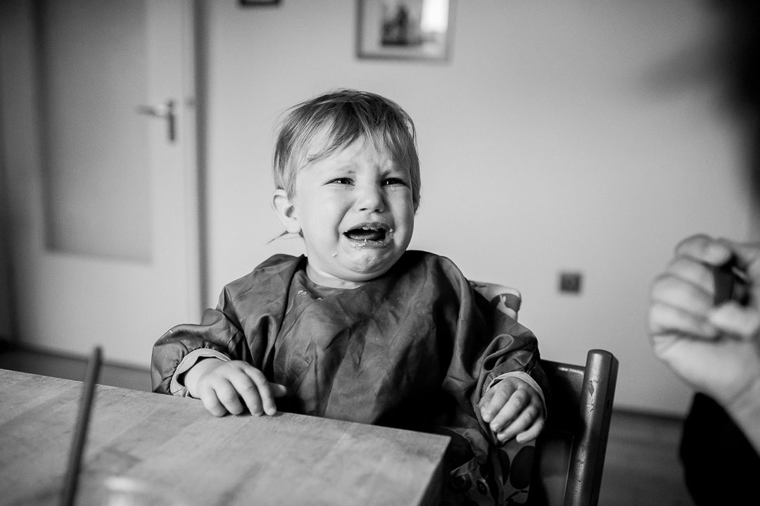 boy crying at lunch