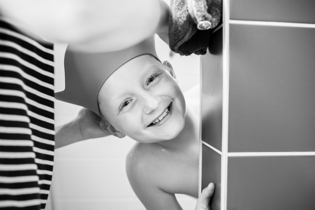 boy with shower cap