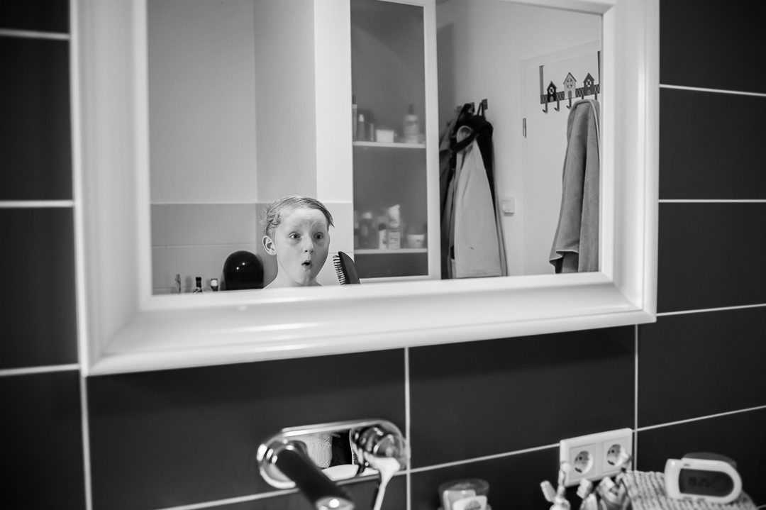 boy in bathroom preparing for bed